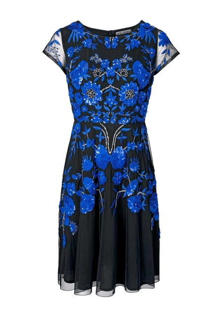 Vyšívané spoločenské šaty Ashley Brooke. čierno-modrá