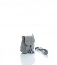 Talianska crossbody kabelka brúsená koža - MK-026229-sivá #2