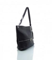 Talianska kabelka cez rameno koža - MK-026226-čierna
