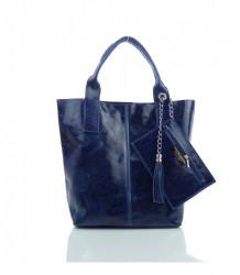 Talianska kabelka lesklá brúsená koža - MK-034816 - Modrá