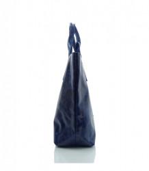 Talianska kabelka lesklá brúsená koža - MK-034816 - Modrá #1
