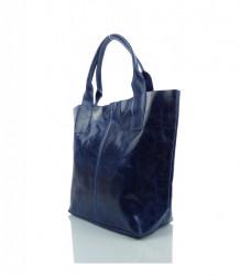 Talianska kabelka lesklá brúsená koža - MK-034816 - Modrá #2