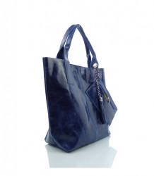 Talianska kabelka lesklá brúsená koža - MK-034816 - Modrá #3