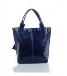 Talianska kabelka lesklá brúsená koža - MK-034816 - Modrá #4