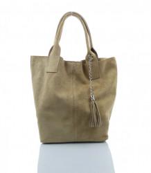 Talianska kabelka Made in Italy brúsená koža - MK-026221- béžová #1