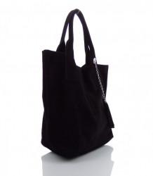 Talianska kabelka Made in Italy brúsená koža - MK-490992-čierna