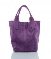 Talianska kabelka Made in Italy brúsená koža - MK-490992-fialová