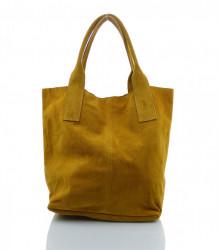 Talianska kabelka Made in Italy brúsená koža - MK-490992-žltohnedá