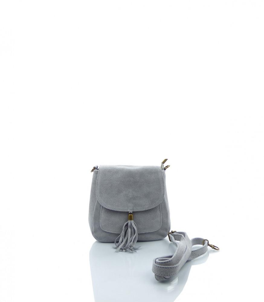 Talianska crossbody kabelka brúsená koža - MK-026229-sivá