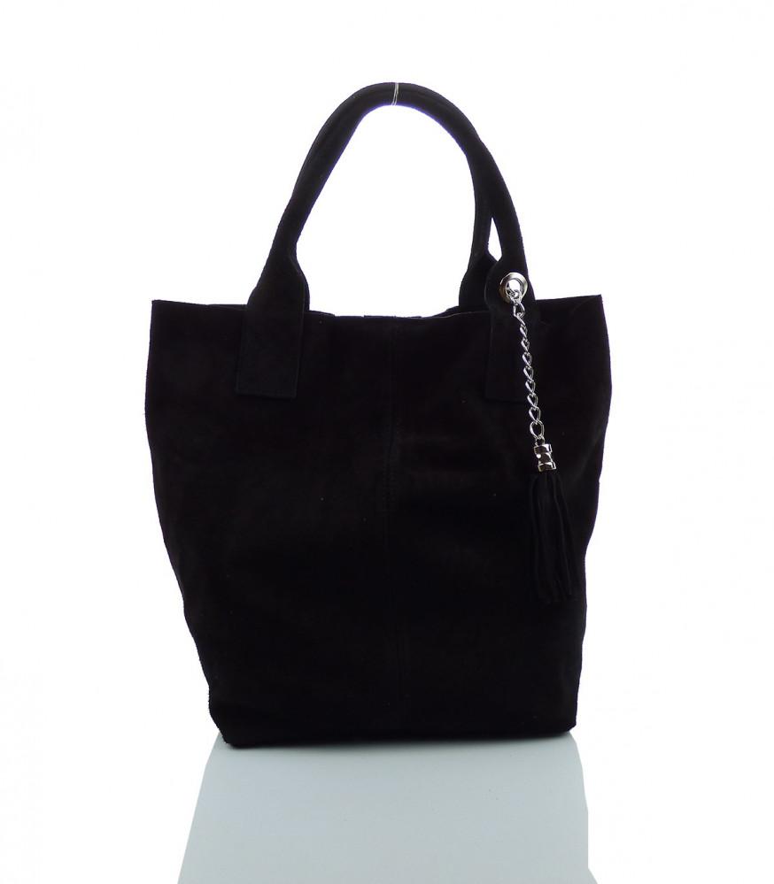 Talianska kabelka brúsená koža - MK-490992-čierna