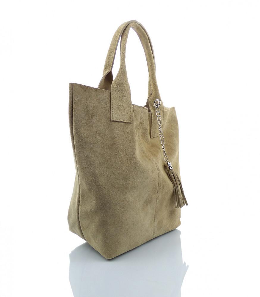 Talianska kabelka Made in Italy brúsená koža - MK-026221- béžová
