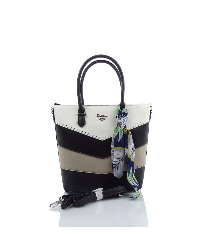 Značková elegantná kabelka DAVID JONES ekokoža - MK-501374- čierna